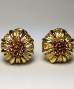 18k Vintage Ruby Clip-on Earrings