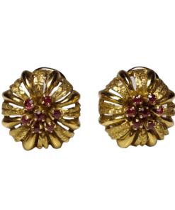 18k Vintage Ruby Clip-on Earrings outline