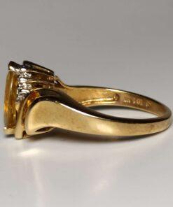 Citrine & Diamond Gold Ring side view