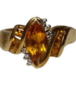 Citrine and Diamond Gold Ring outline