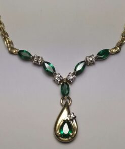 Emerald & Diamond Gold Necklace closeup