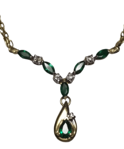Emerald & Diamond Gold Necklace outline