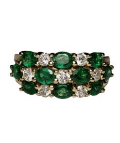 Emerald & Diamond Triple-Row Gold Ring outline