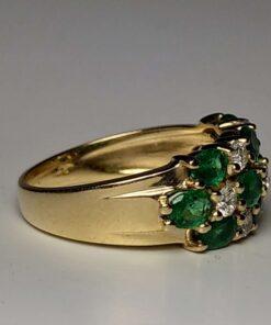 Emerald & Diamond Triple-Row Gold Ring side view