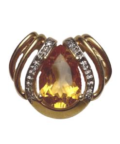 Extra Large Citrine & Diamond Gold Pendant outline