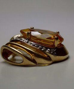 Extra Large Citrine & Diamond Gold Pendant side view