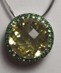 Green Garnet & Peridot White Gold Necklace closeup