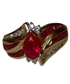 Red Zircon, Ruby, & Diamond Cocktail Ring outline