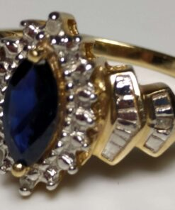 Sapphire & Diamond Halo Ring closeup