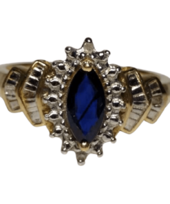 Sapphire & Diamond Halo Ring outline