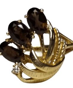 Smoky Quartz and Diamond Gold Ring outline