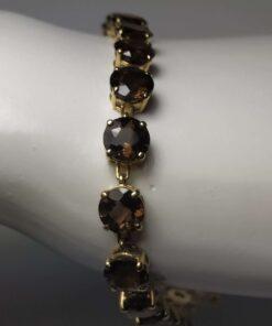 Smoky Quartz Gold Tennis Bracelet