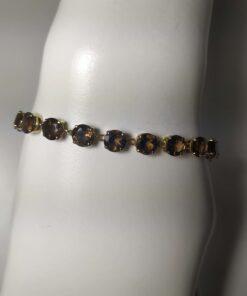 Smoky Quartz Gold Tennis Bracelet front