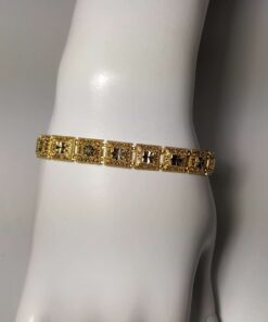 Square Filigree Yellow Gold Bracelet front view