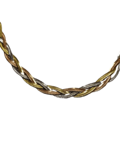 Tri-Color Gold Braided Necklace outline